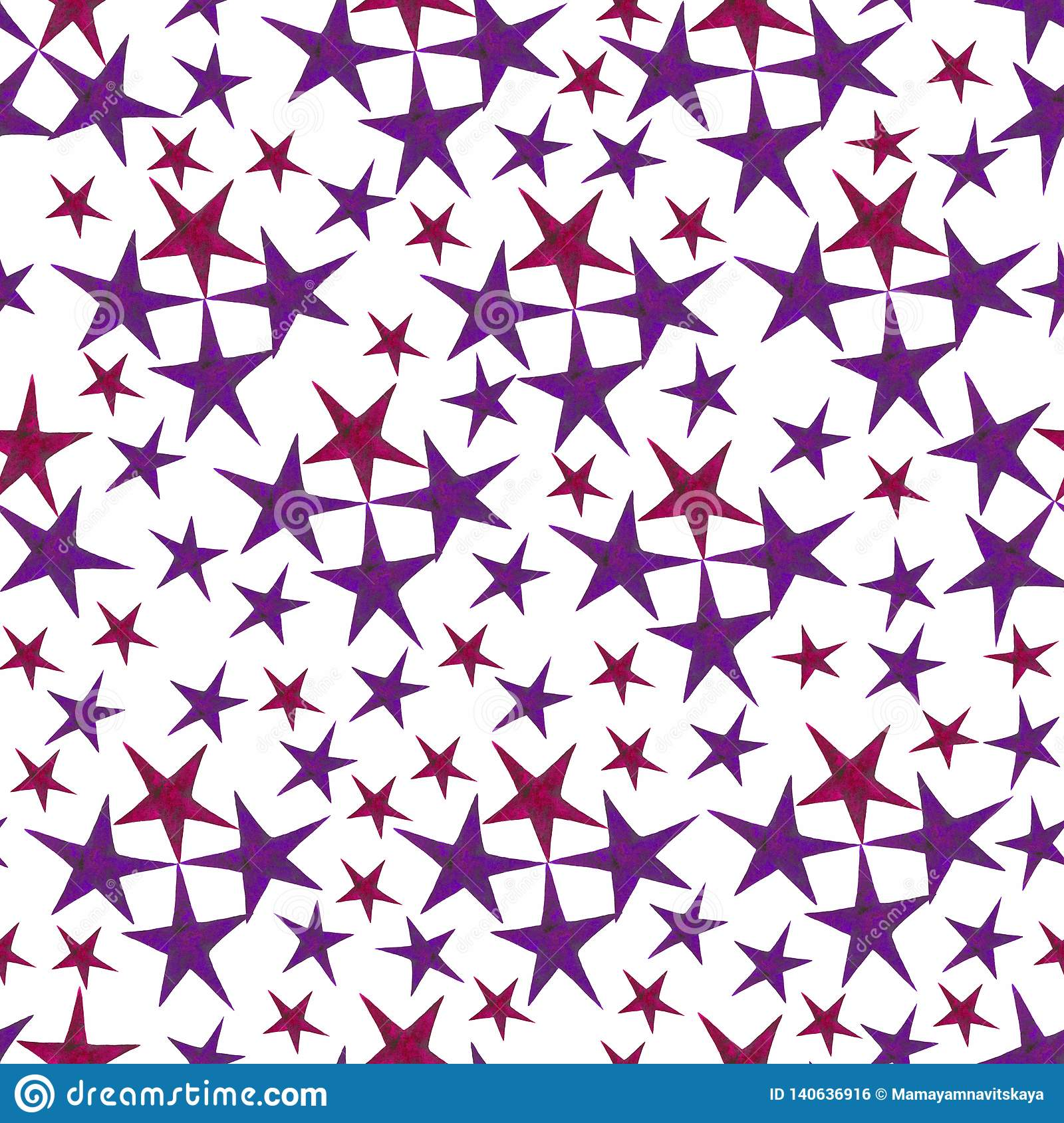 Stars pattern in red and violet colors.hand-drawn watercolor stars, isolated on white background.