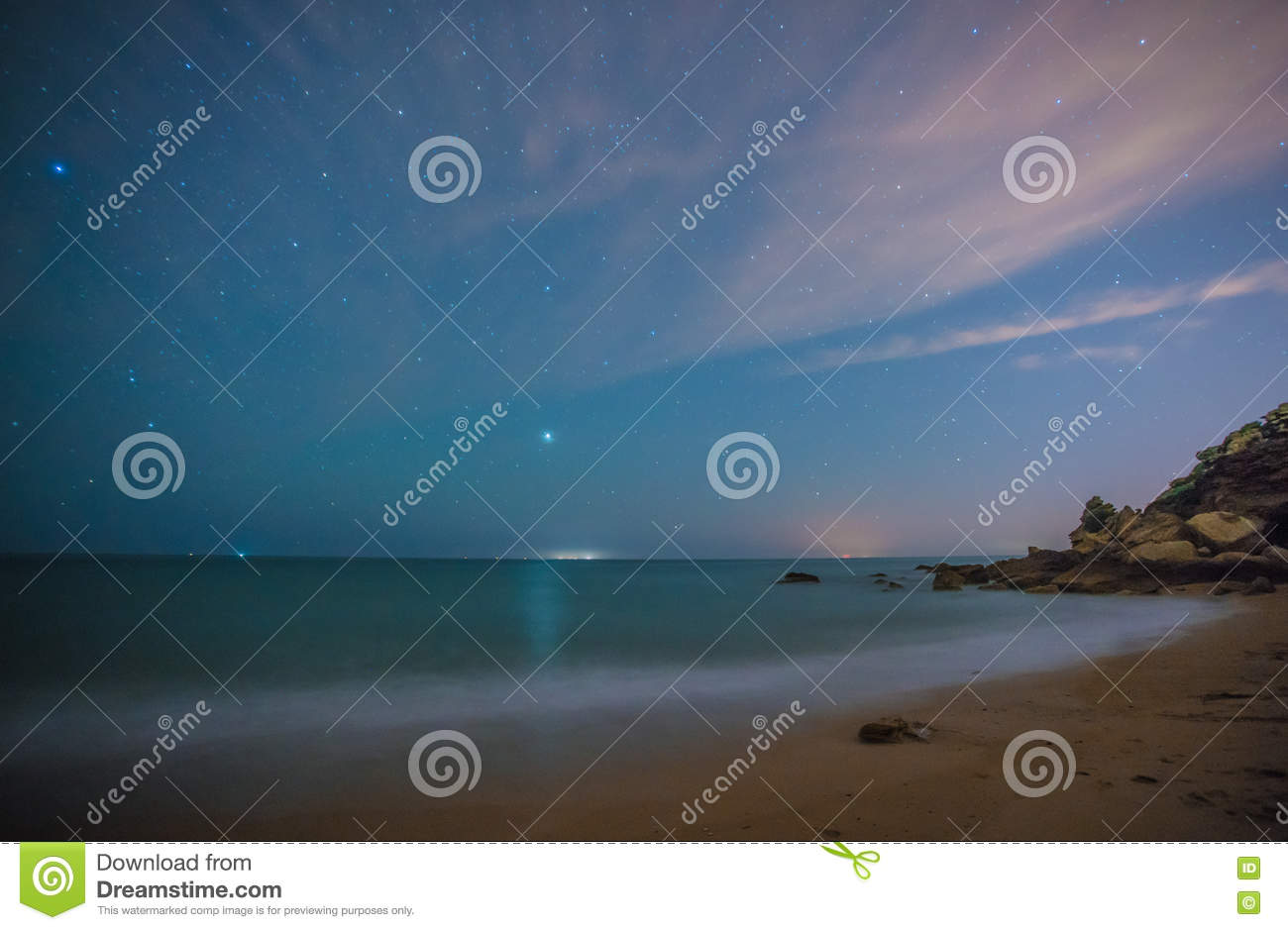 1ba3f373fabae The Stars In A Perfect Night In A Beach Stock Image - Image of ...