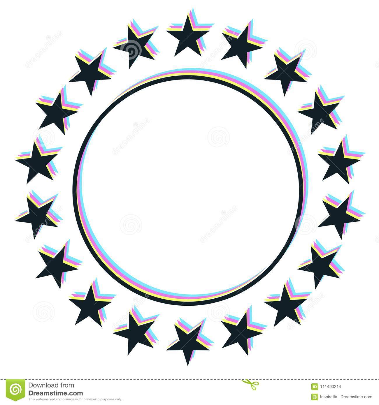 stars placed on circle with glitch effect vector illustration rh dreamstime com