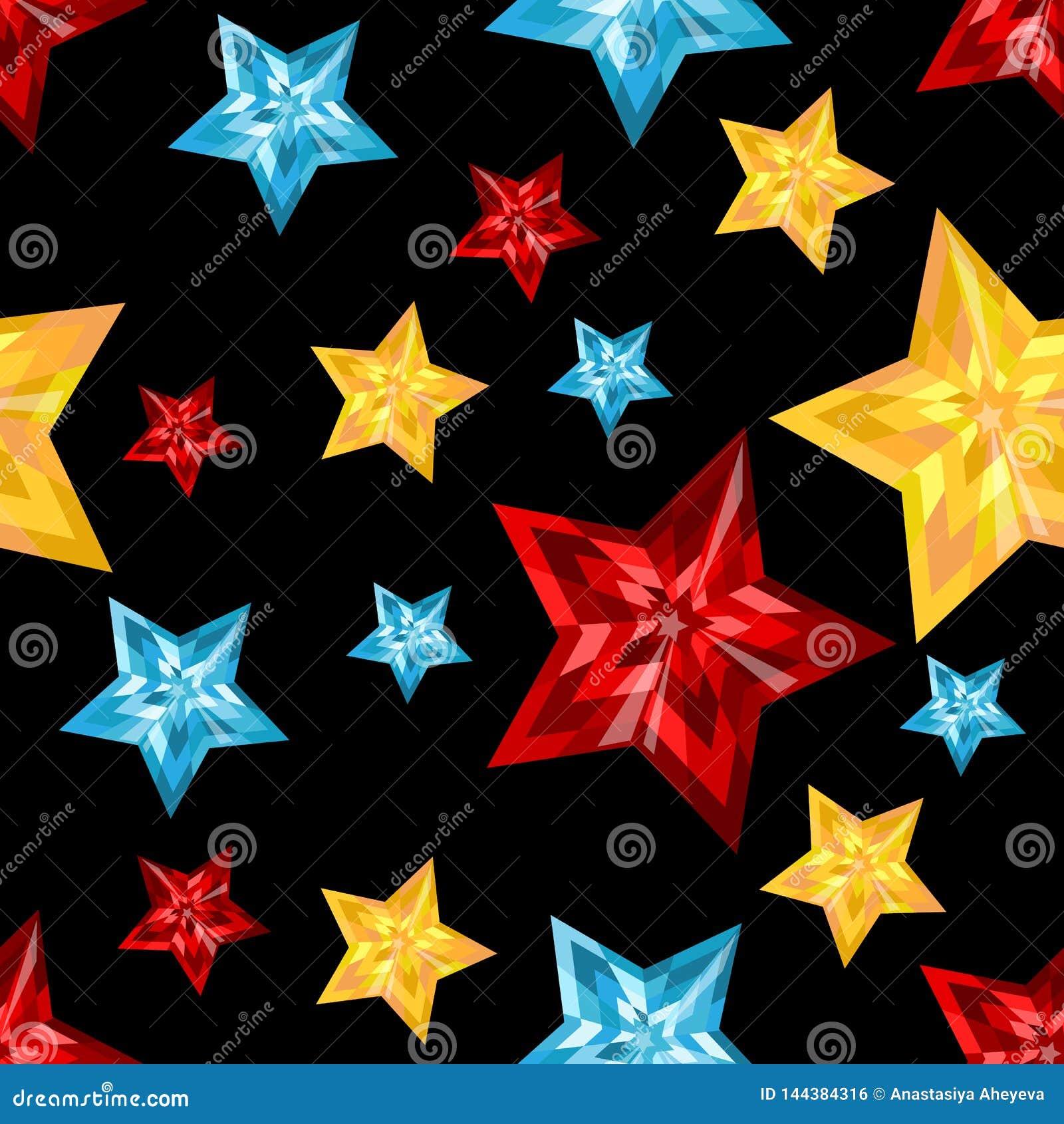 Stars. Precious stones on a black background. Jewelry cut.
