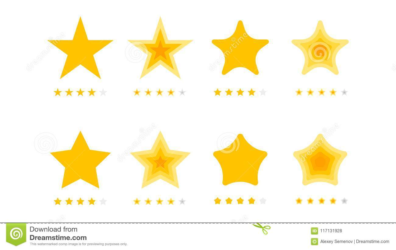 5 Stars Rating Vector Collection With Flat Yellow Star Icons That