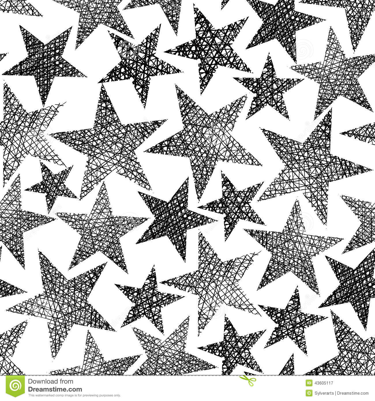 Aninimal Book: Stars Seamless Pattern, Vector Repeating Black And White ...