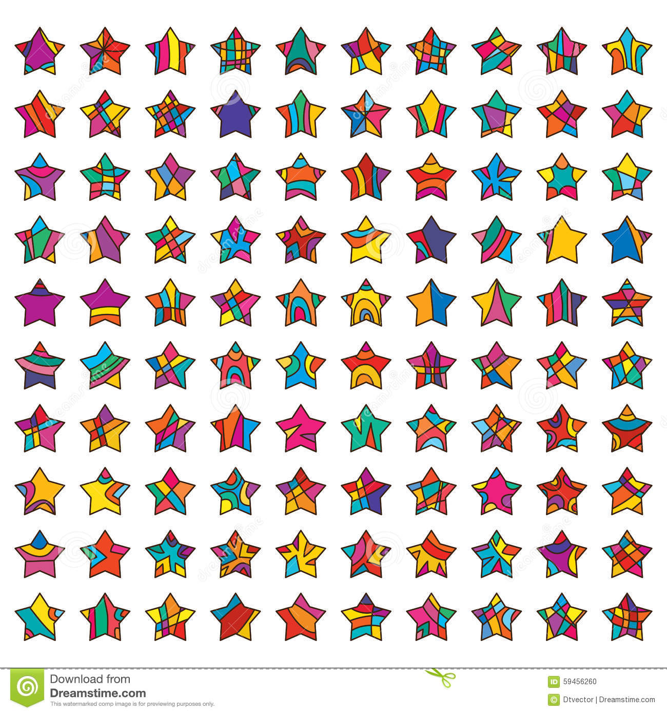 ... color 100 star set collection white colors background graphic element