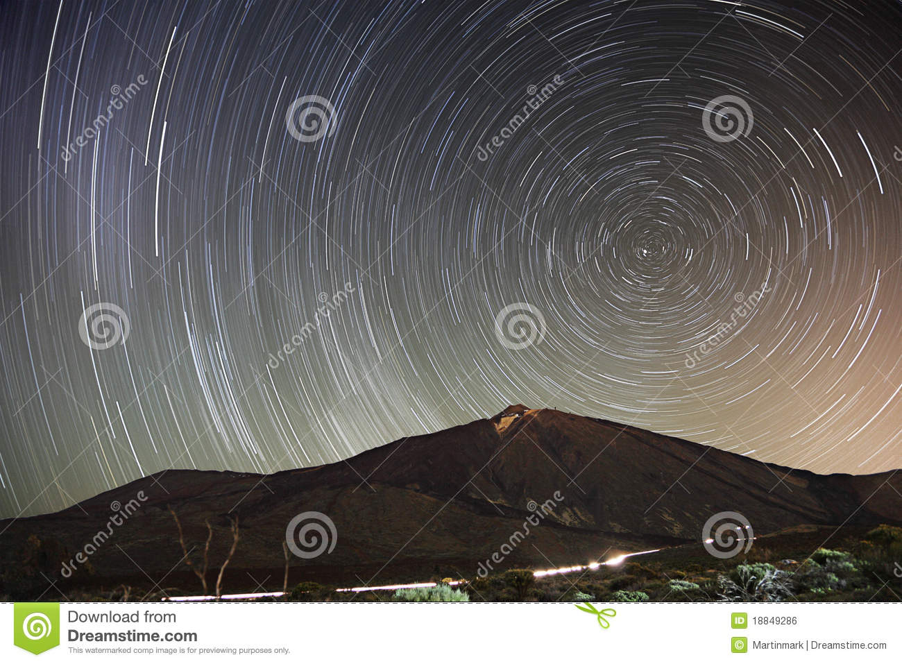 Stars - Star trail night sky, Teide, Tenerife