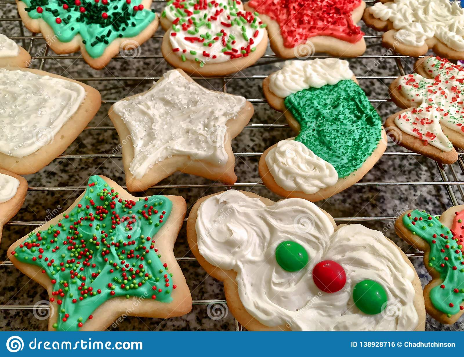 Colorfully Iced Homemade Christmas Cookies On A Wire Rack Stock Photo Image Of Snowman White 138928716