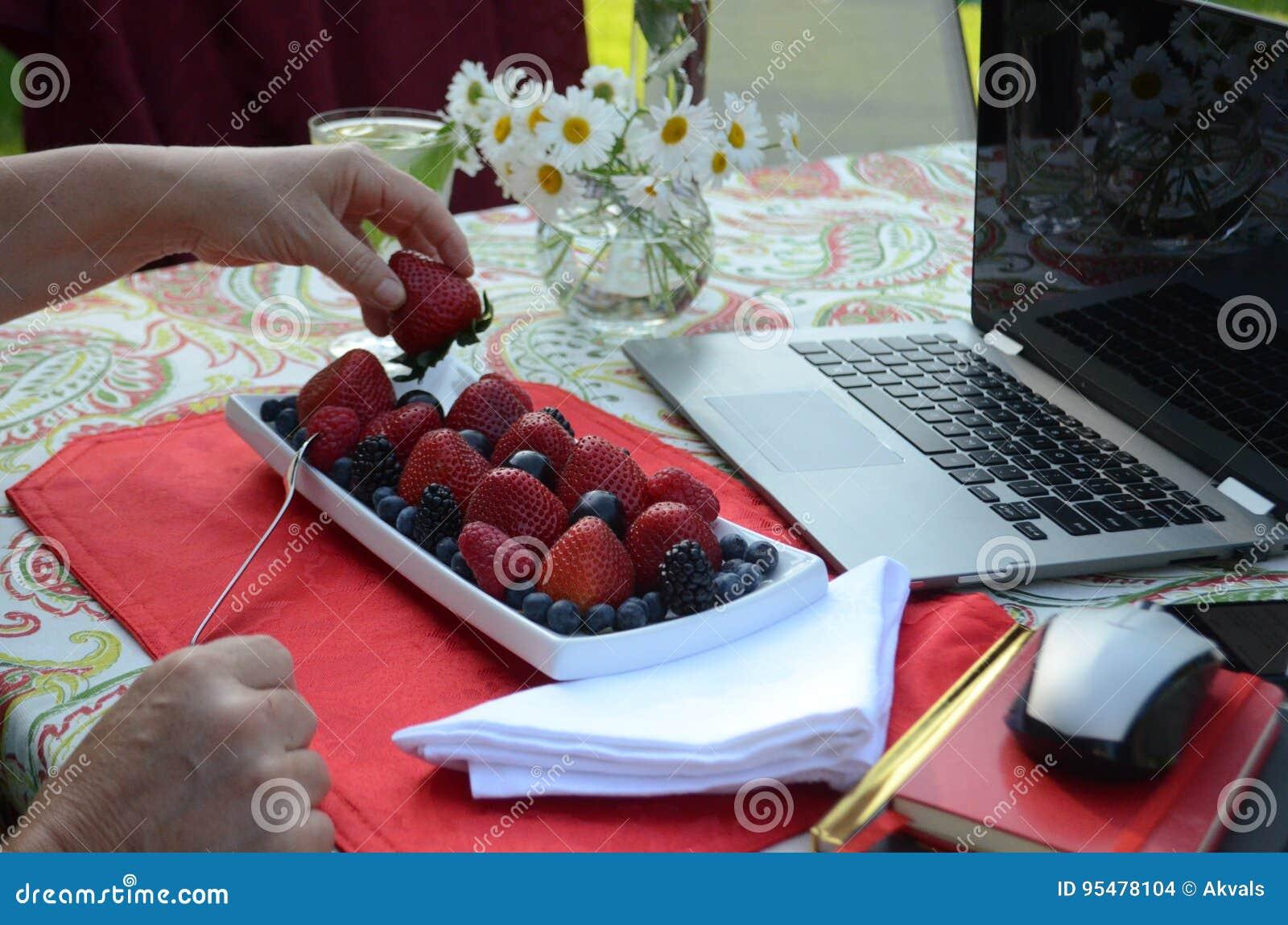 Starsza kobieta je świeże jagody i freelance pracować na laptopie w lato ogródzie