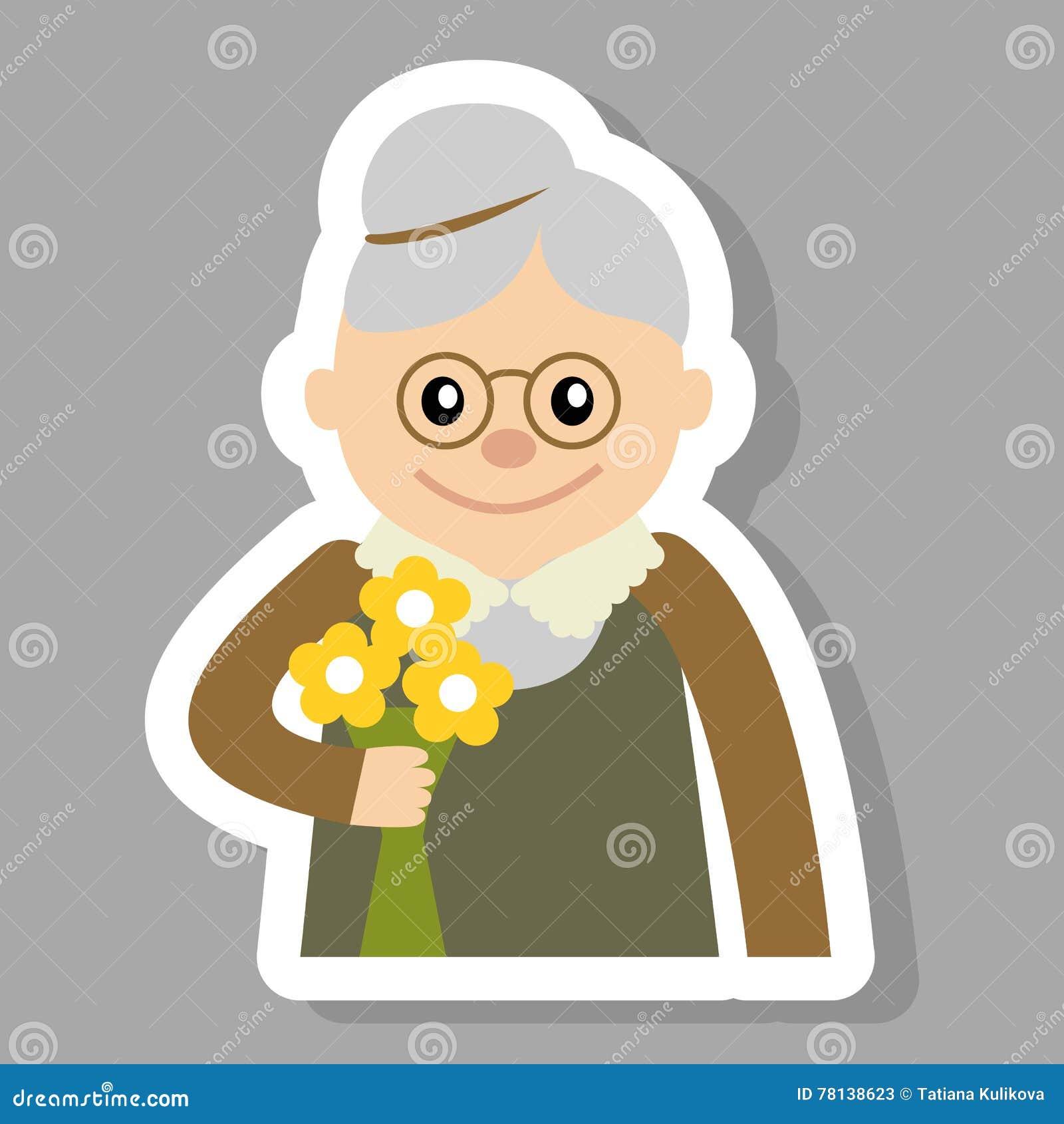 Starsza kobieta z kwiat ikony wektoru ilustracją Twarz stary, ludzie ikony kreskówki stylu