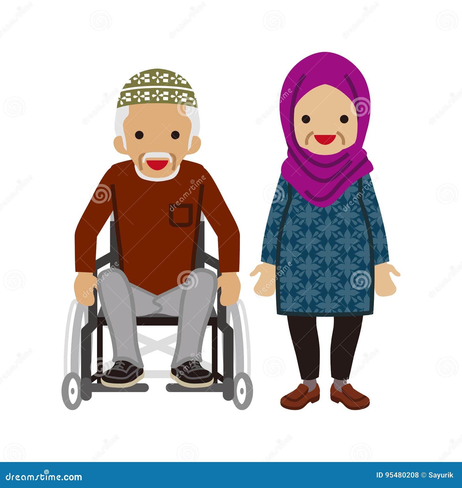 Starsza para - muzułmanin, wózka inwalidzkiego dziadunio