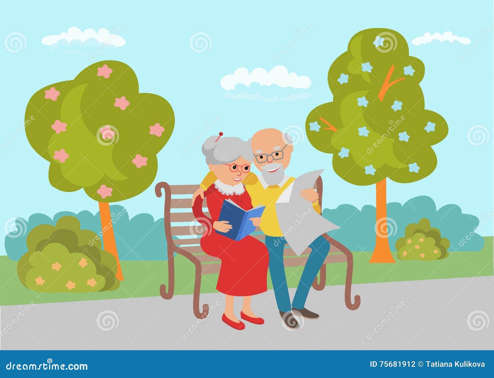 Starsze osoby dobierają się obsiadanie na parkowej ławce i czytają Wektorowa ilustracja w mieszkanie stylu