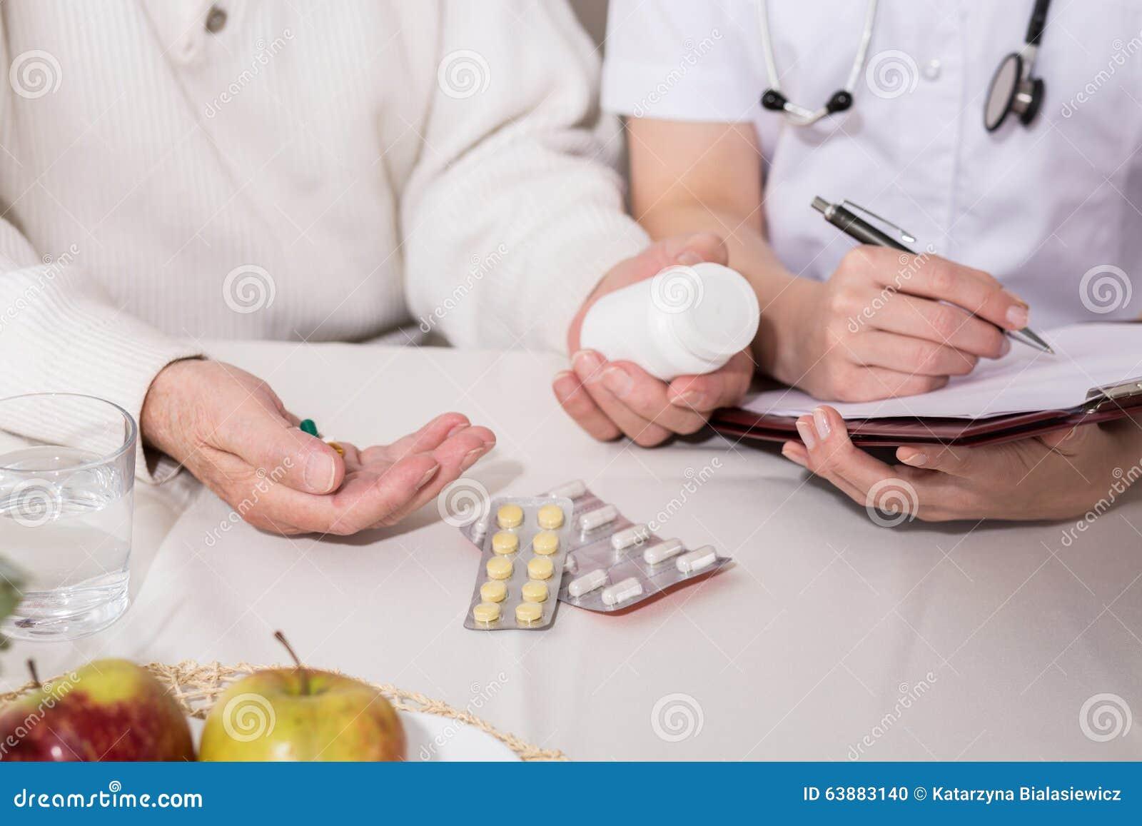 Starsze osoby obsługują brać środek przeciwbólowego