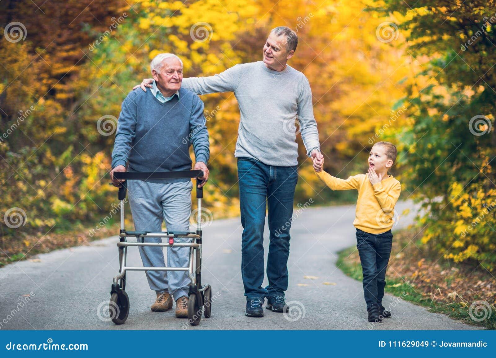 Starsze osoby ojcują out dla spaceru w parku, dorosły syn i wnuk