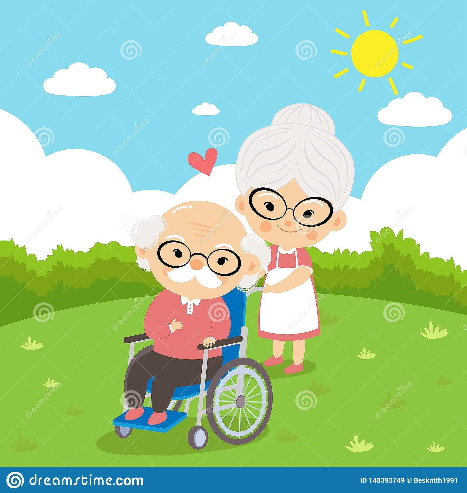 Starszej osoby para bierze opieki obsiadanie na wózku inwalidzkim