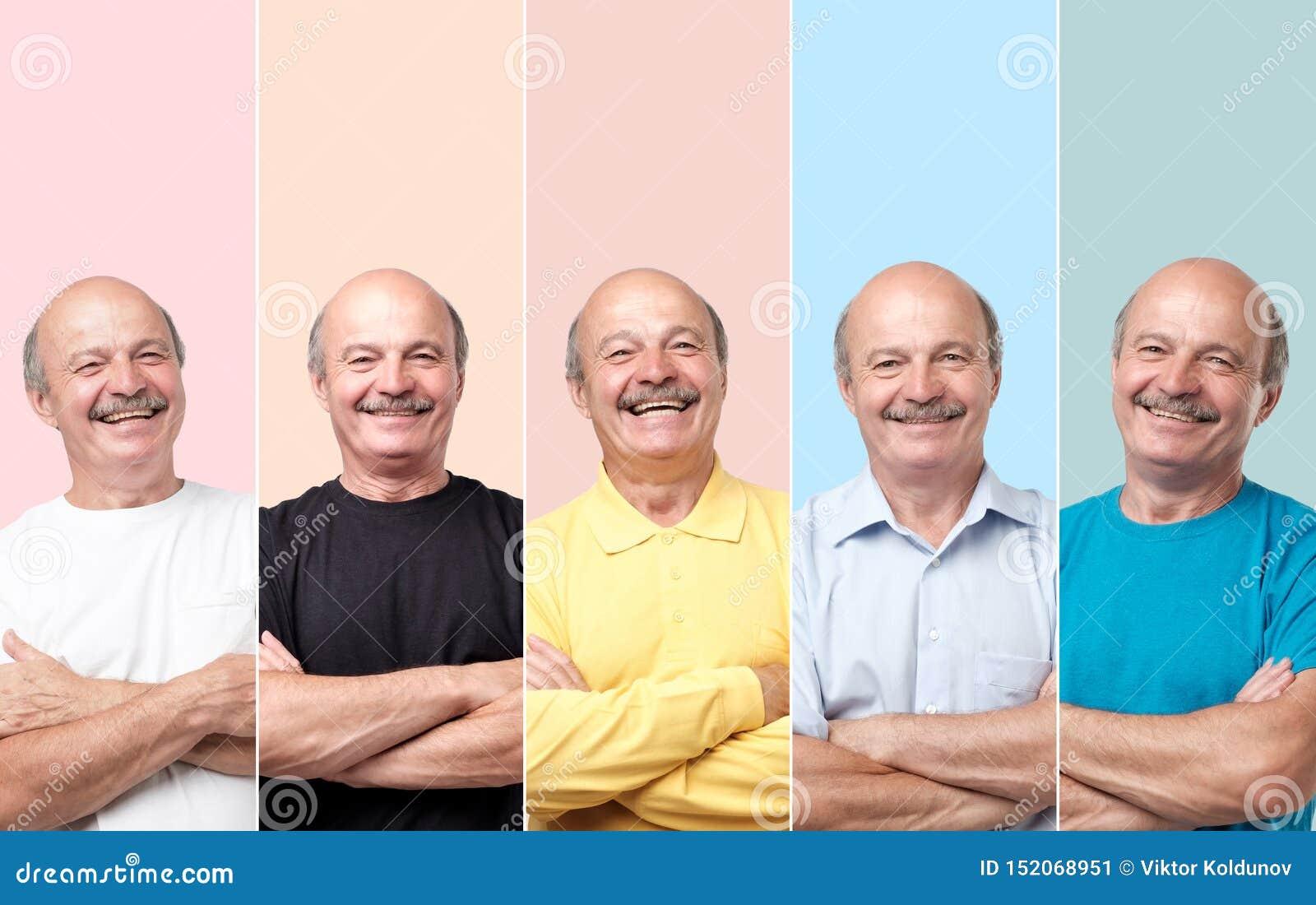 Starszy m??czyzna w r??nych ubraniach roze?mianych i patrzej? z u?miechem przy kamer?