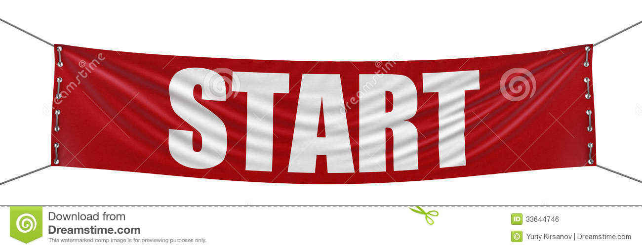 start banner clipping path included stock illustration