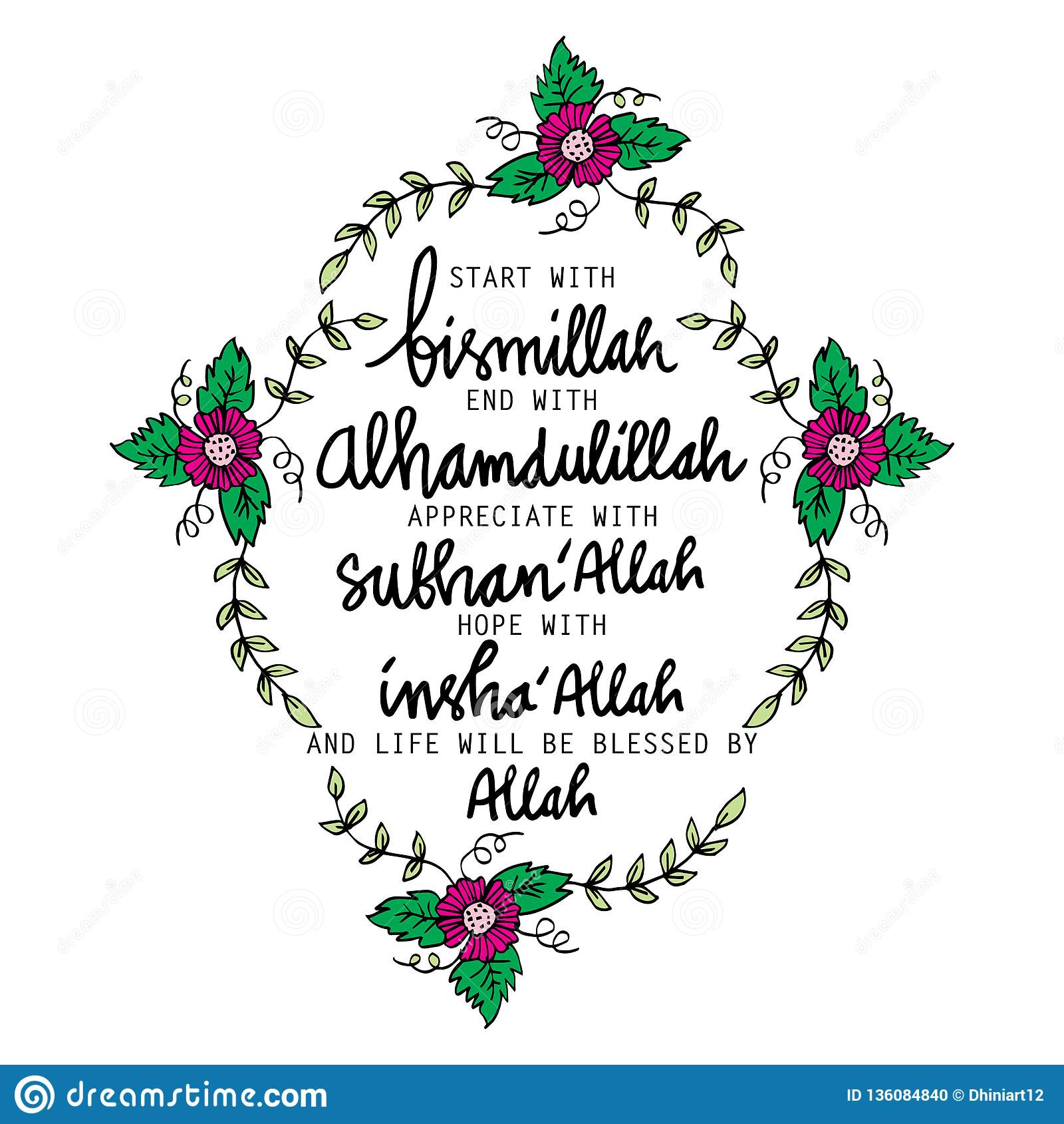 Start With Bismillah, End With Alhamdulillah,,, Stock Vector