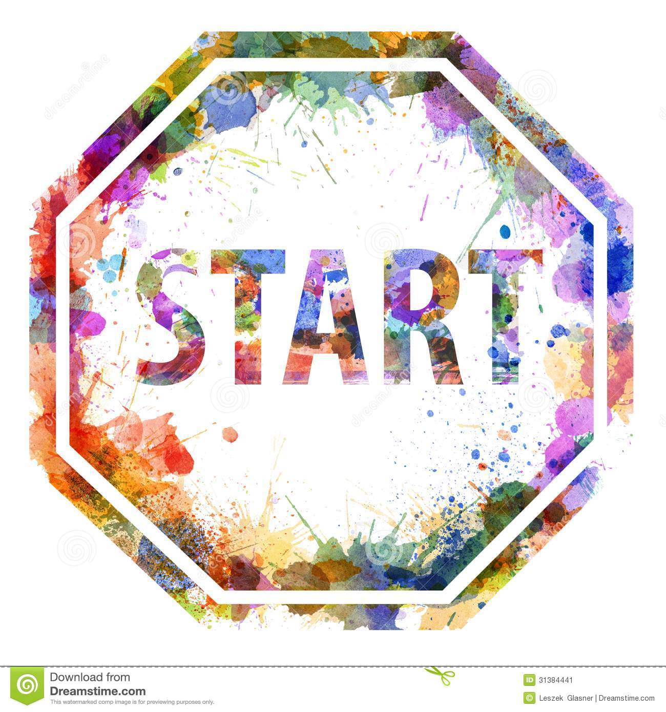 start concept watercolor splashes as a sign stock image