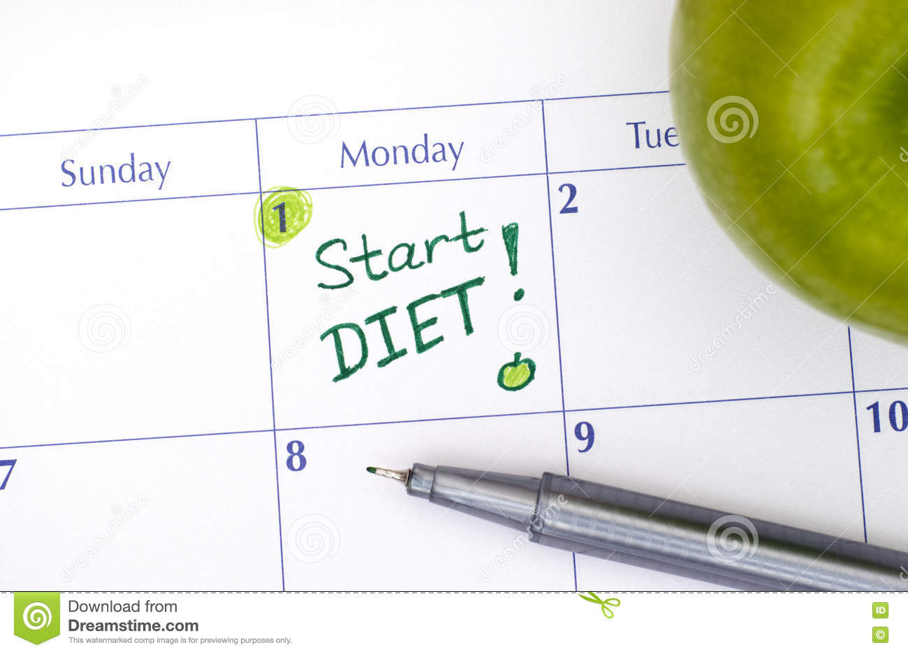 Start Diet In Calendar With Pen And Green Apple Stock Photo - Image ...