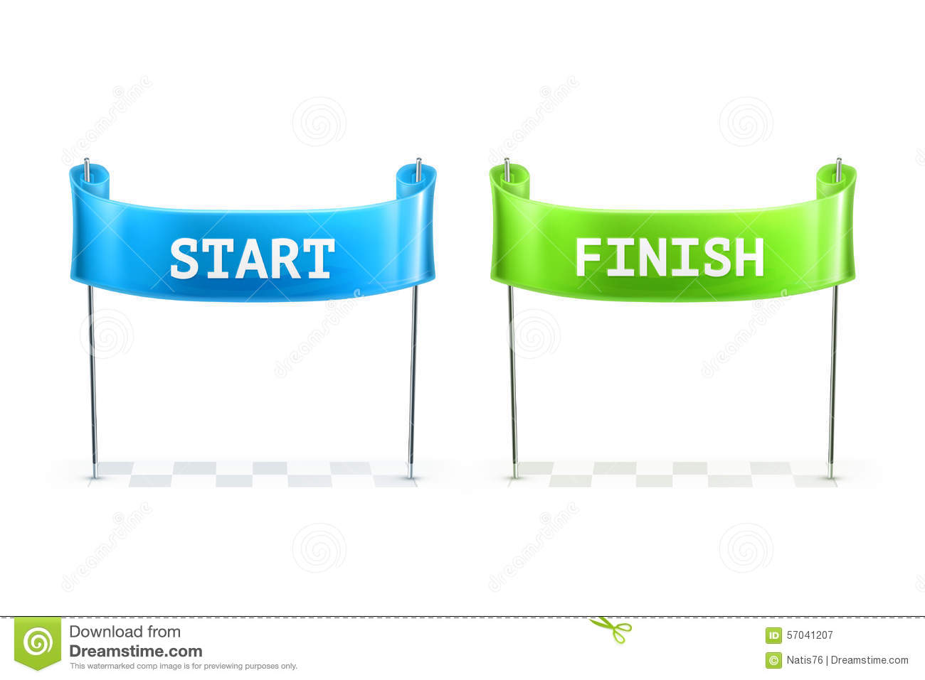 Start And Finish Flags Illustration Stock Vector Image