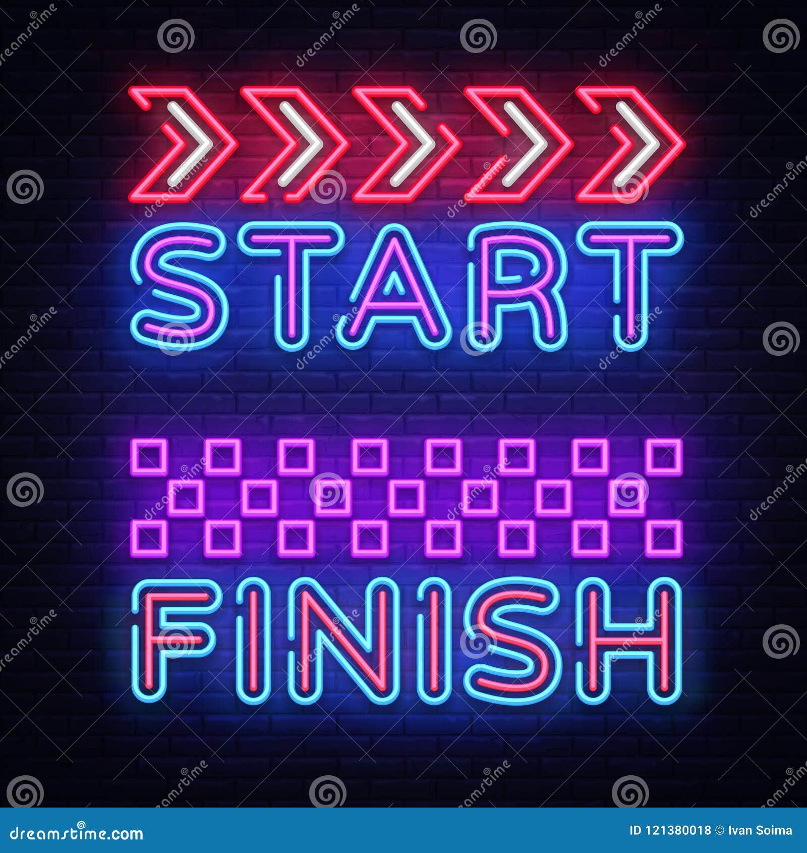 start finish neon sign vector start finish design template neon