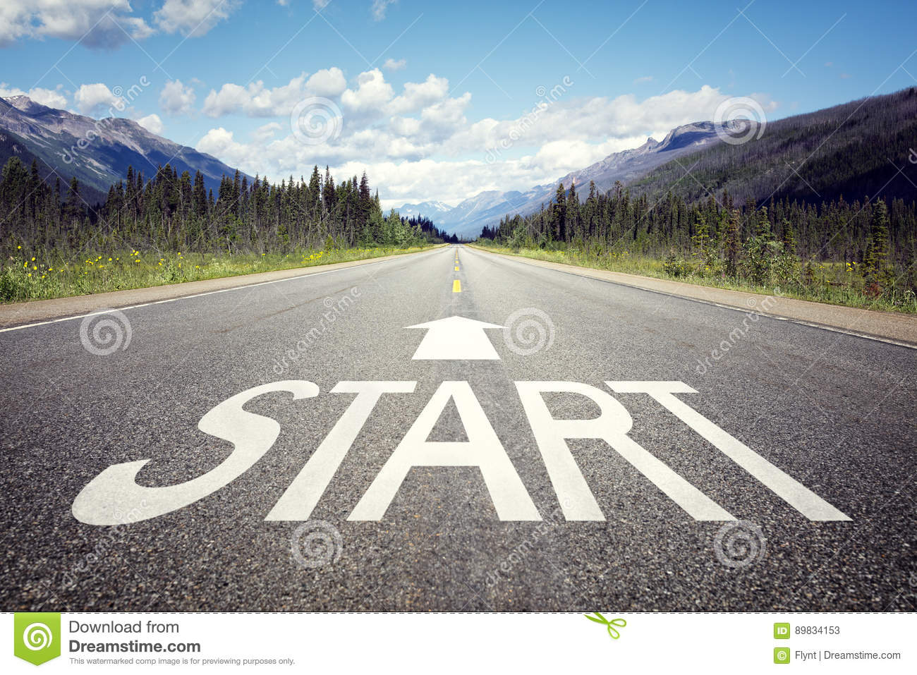 Download Start line on the highway stock image. Image of growth - 89834153