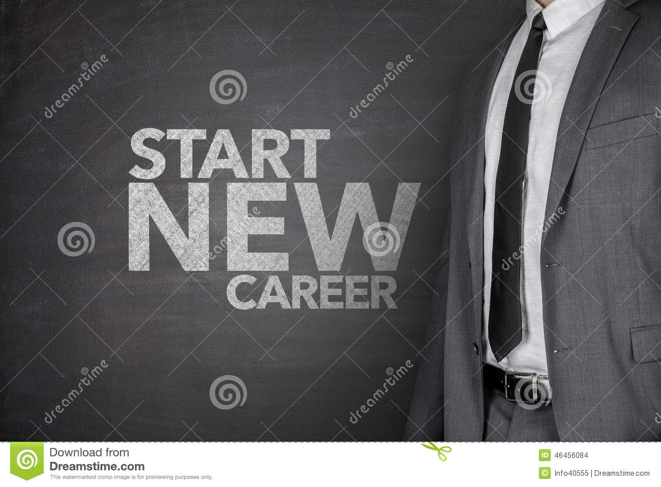 start new career on blackboard stock photo image  start new career on blackboard