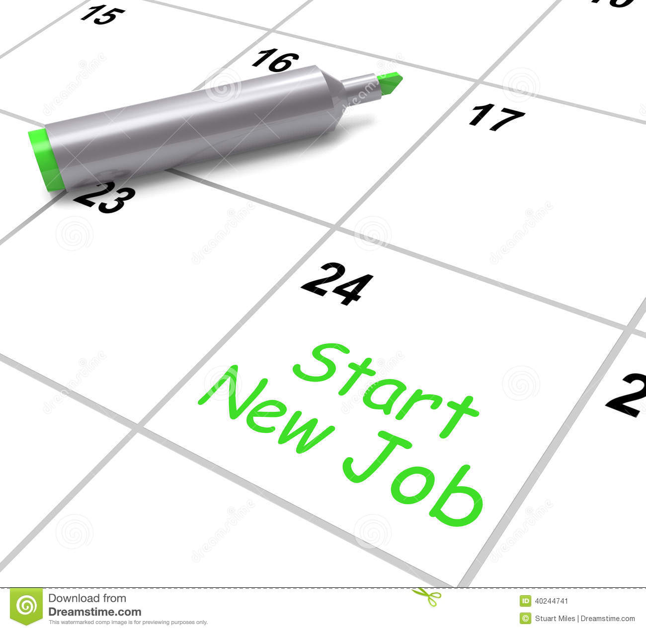 start new job calendar means day one in stock illustration image start new job calendar means day one in