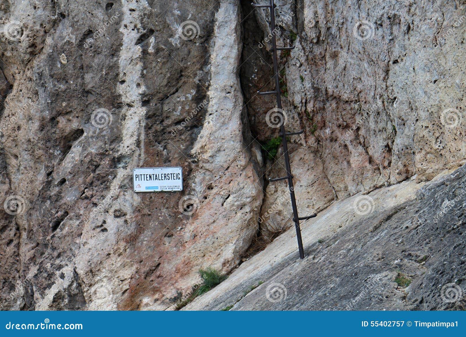 Pittentaler Klettersteig : Start of pittentaler klettersteig with ladder stock image