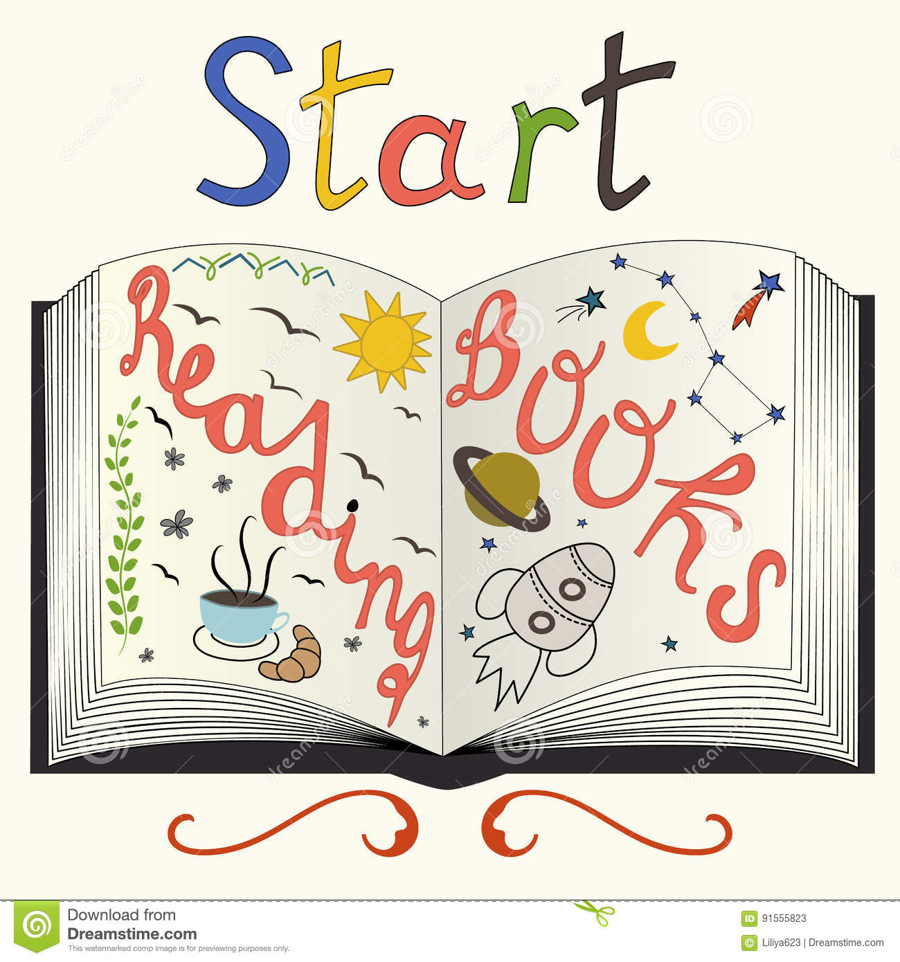 Start Reading Books. Motivational Quote About Book And