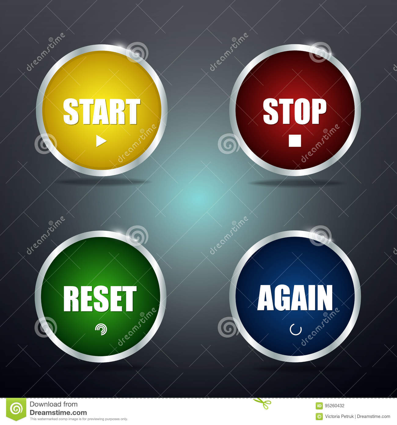Start reset stop and again buttons