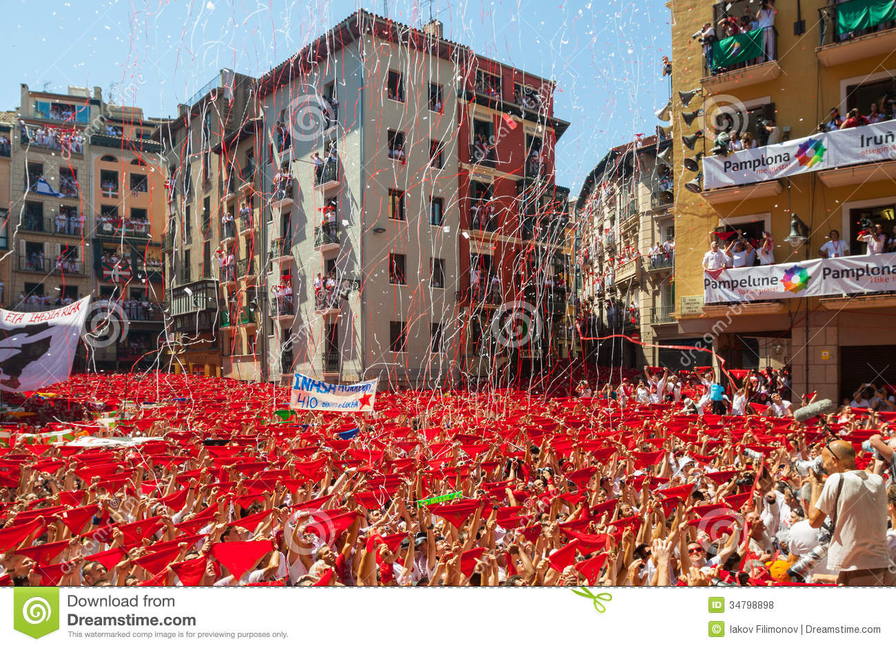 ... Festival in July 6, 2013 in Pamplona, Spain.Crowd of people in square