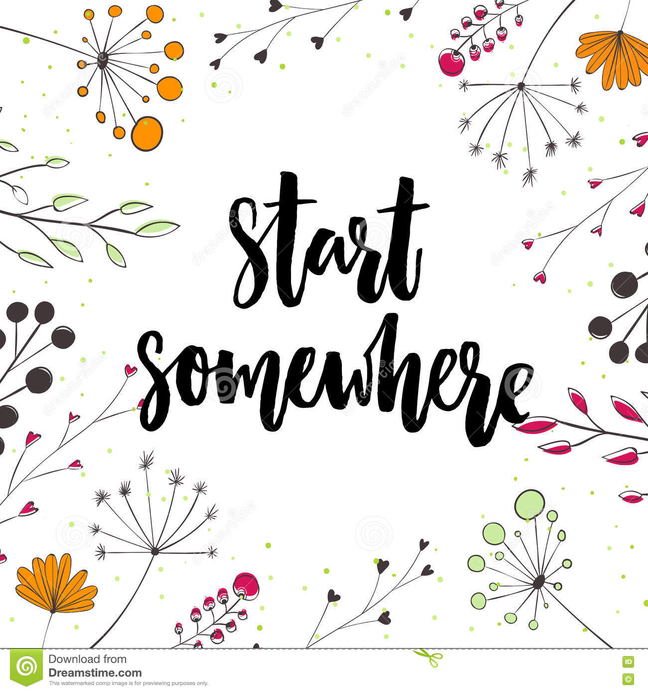 Start Somewhere. Motivation Saying In Nature Frame With Twigs And ...