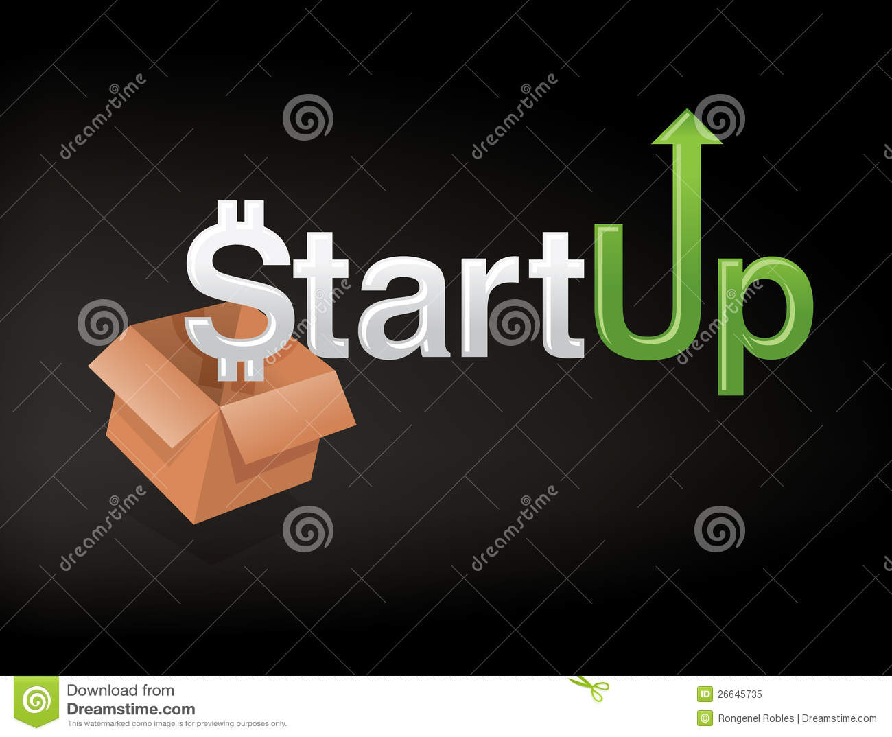 Graphic and unique custom font that represents start up business