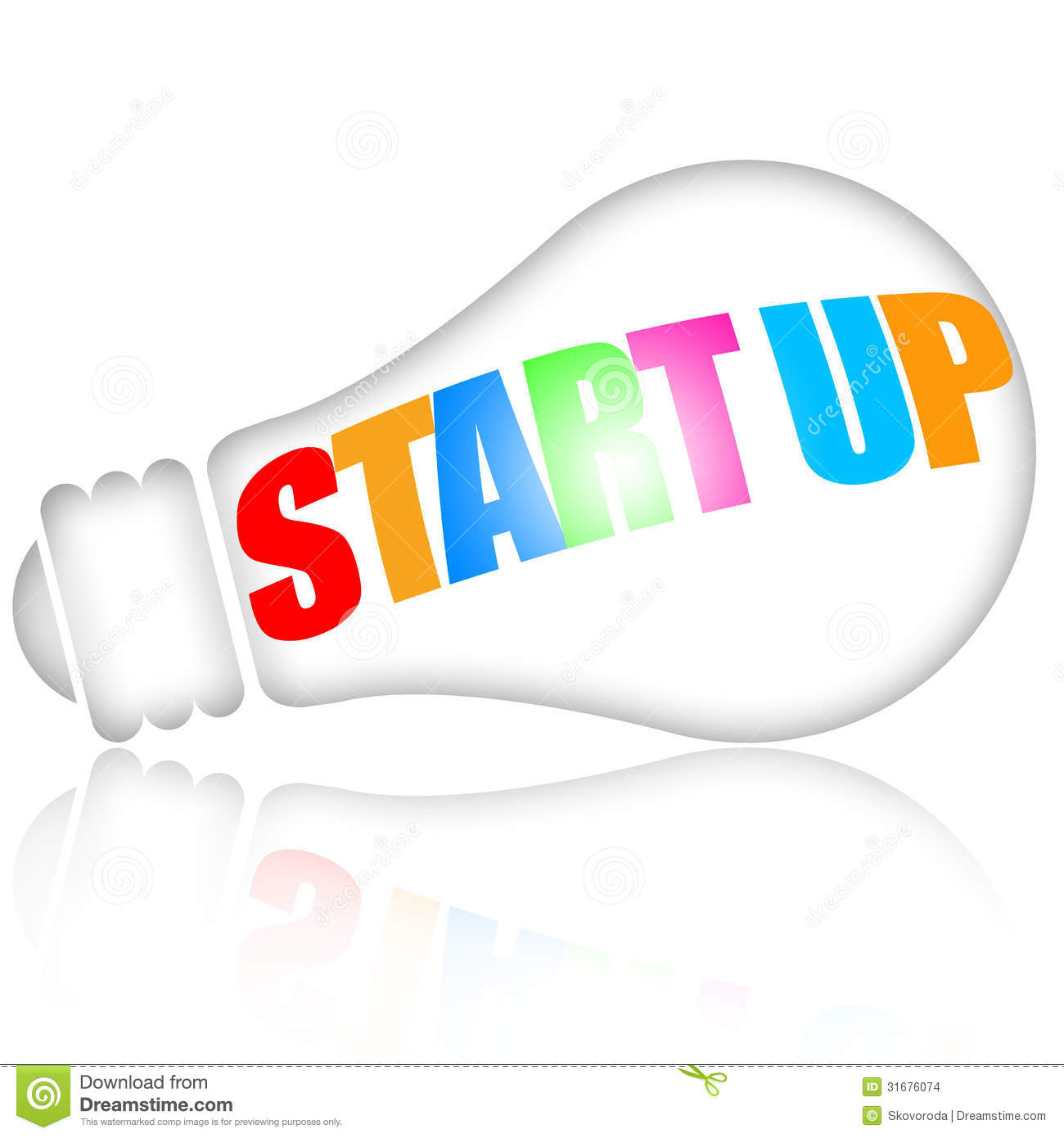 Start up business concept with lightbulb over white background