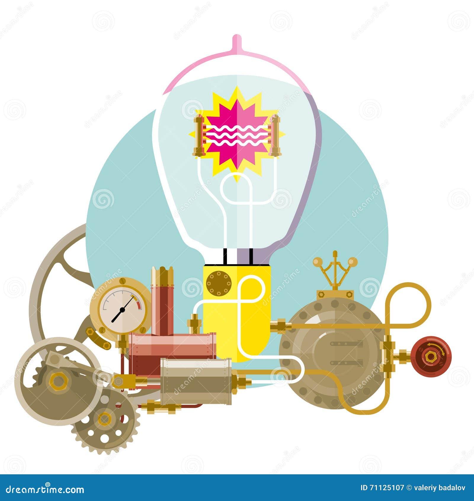 start up concept steampunk stock vector image 71125107. Black Bedroom Furniture Sets. Home Design Ideas