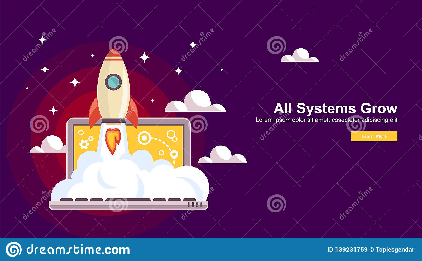 Start up Simple Rocket web design, Responsive web design flat vector, design technology template