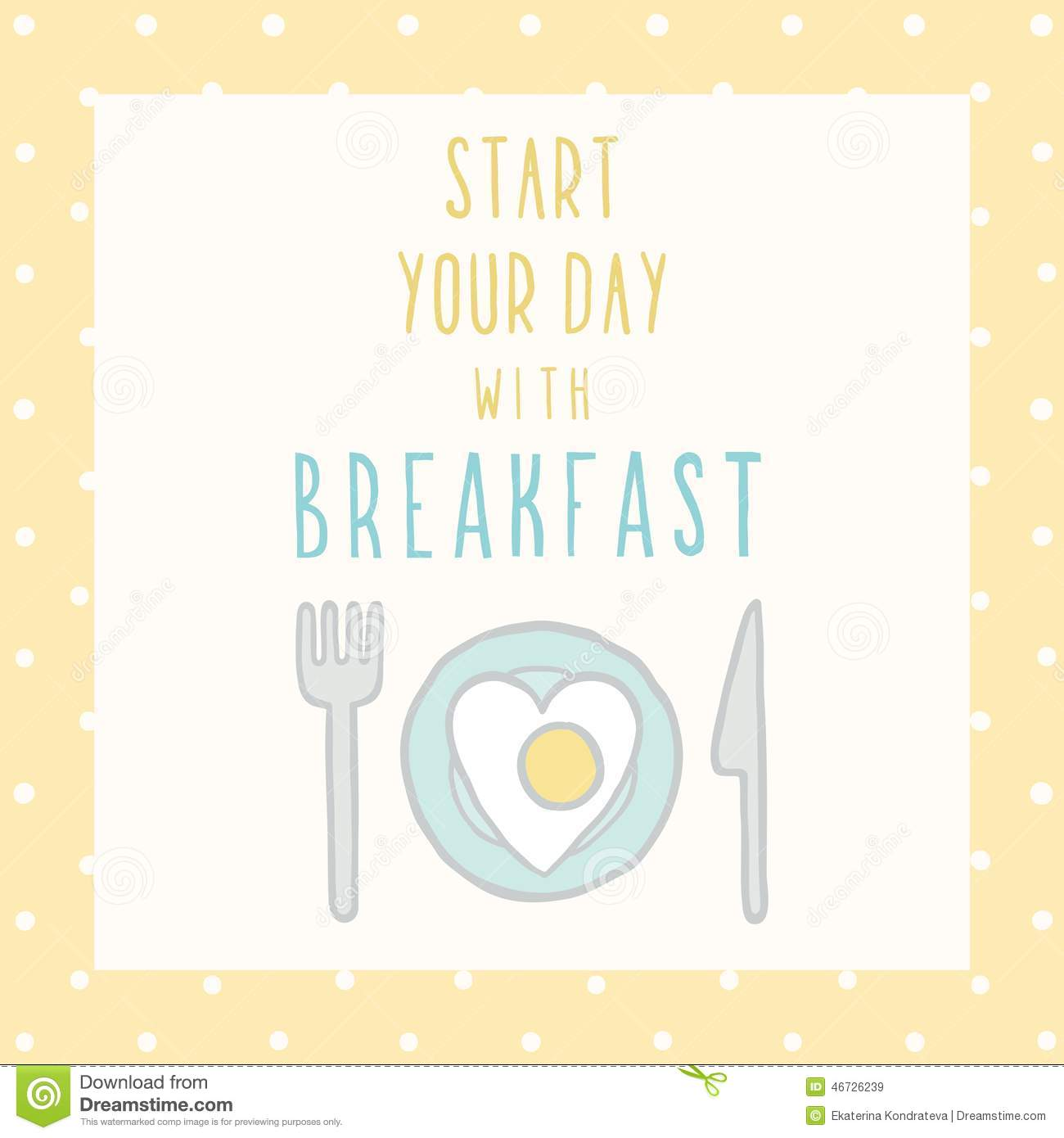 Start Your Day With Breakfast Card. Stock Vector - Image: 46726239