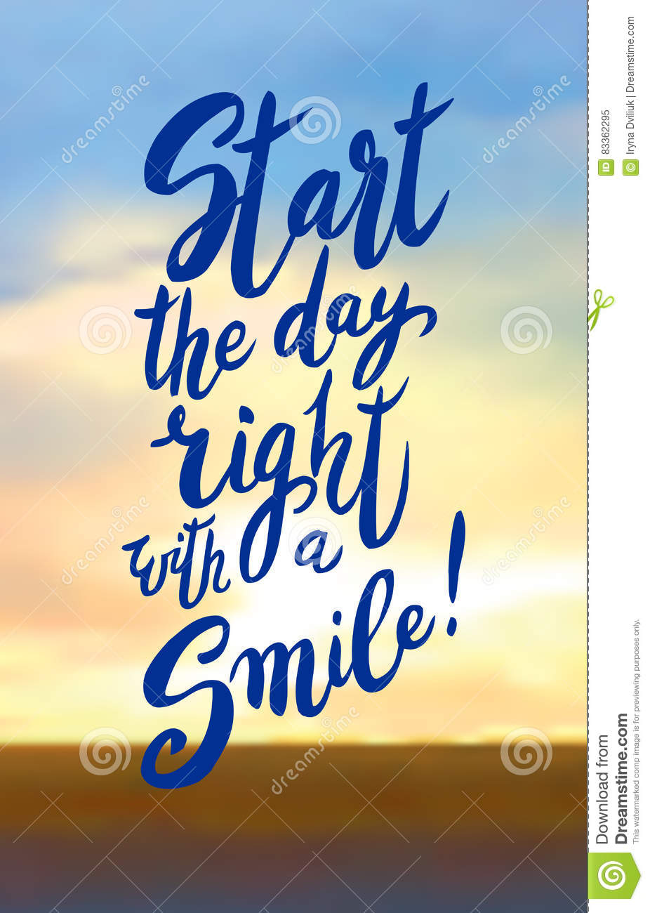 Start Your Day With A Smile. Stock Vector   Illustration of drawn