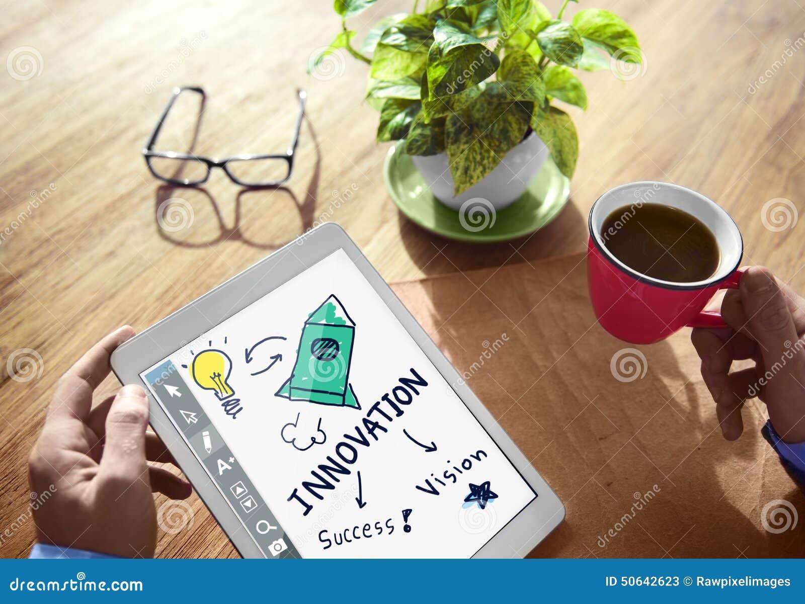Startar tillväxt för den ljusa kulan för innovationframgångvision upp begrepp