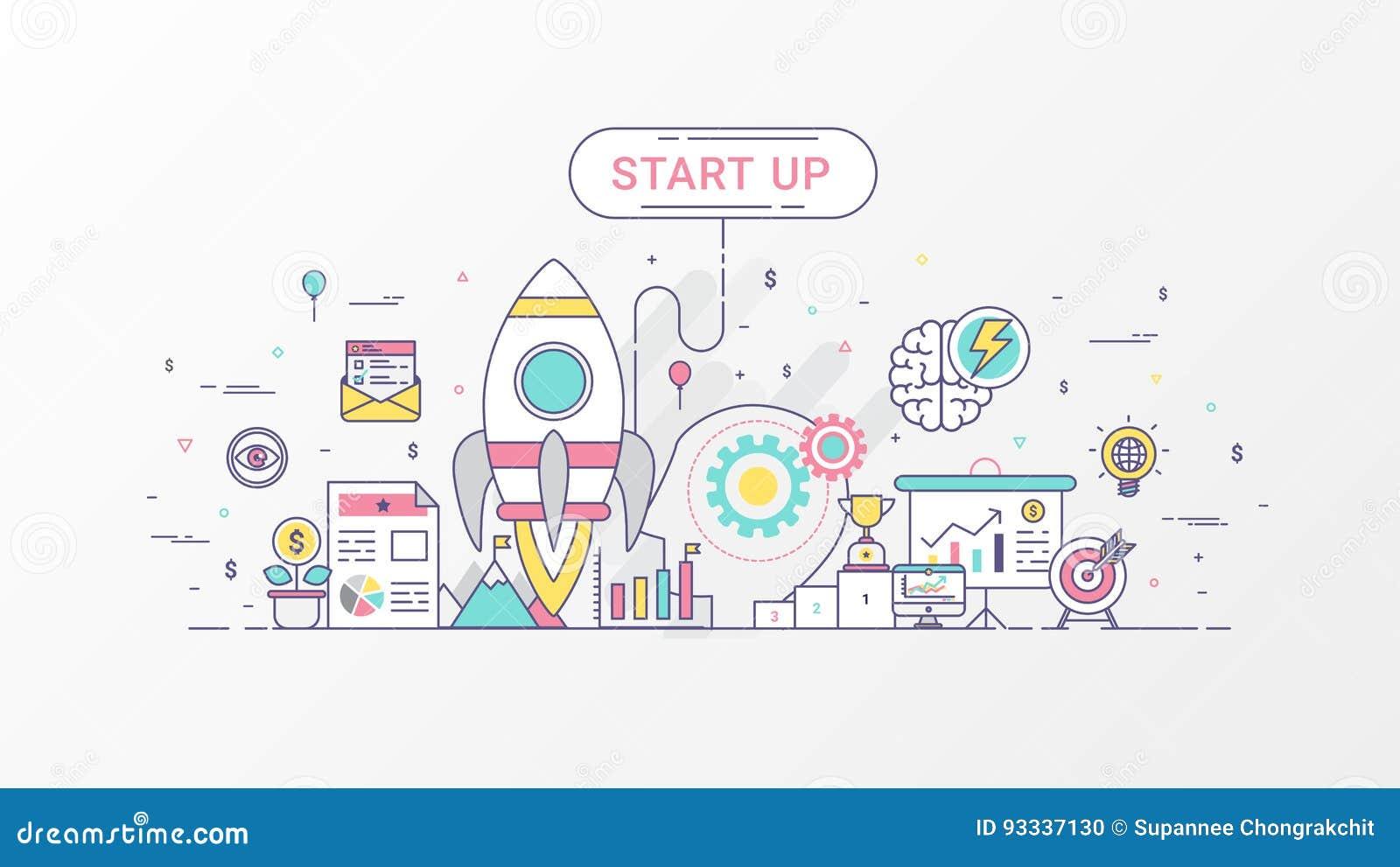 Startbedrijf Snelgroeiende infographic zaken Het horizontale samenstellingsmalplaatje bevat Raketpictogrammen, Bedrijfs planning