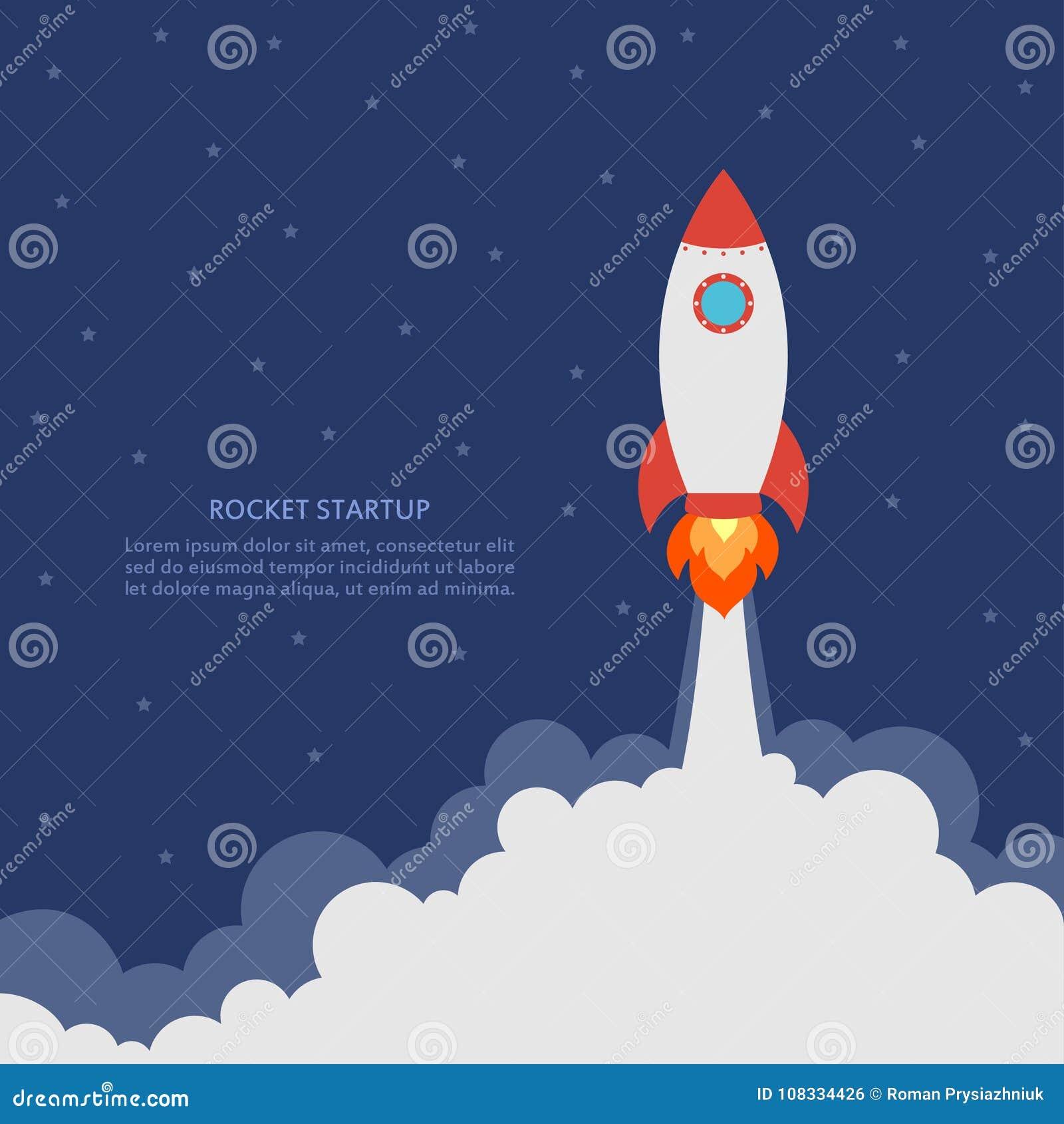 Startconcept met raketlancering Bedrijfsbanner met ruimteschip Ontwikkeling en geavanceerd project Vector