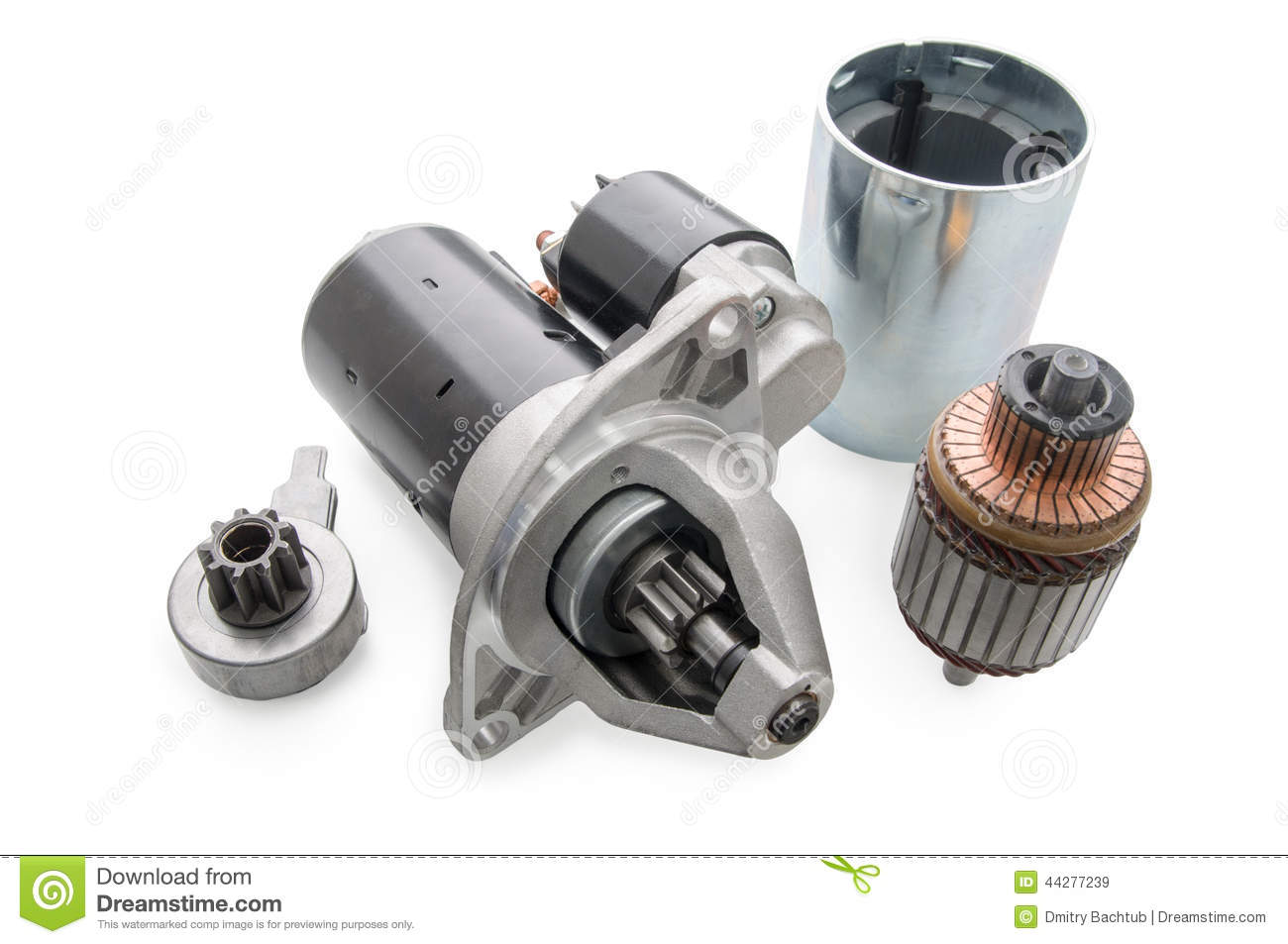 starter for car and spare parts to it stock image