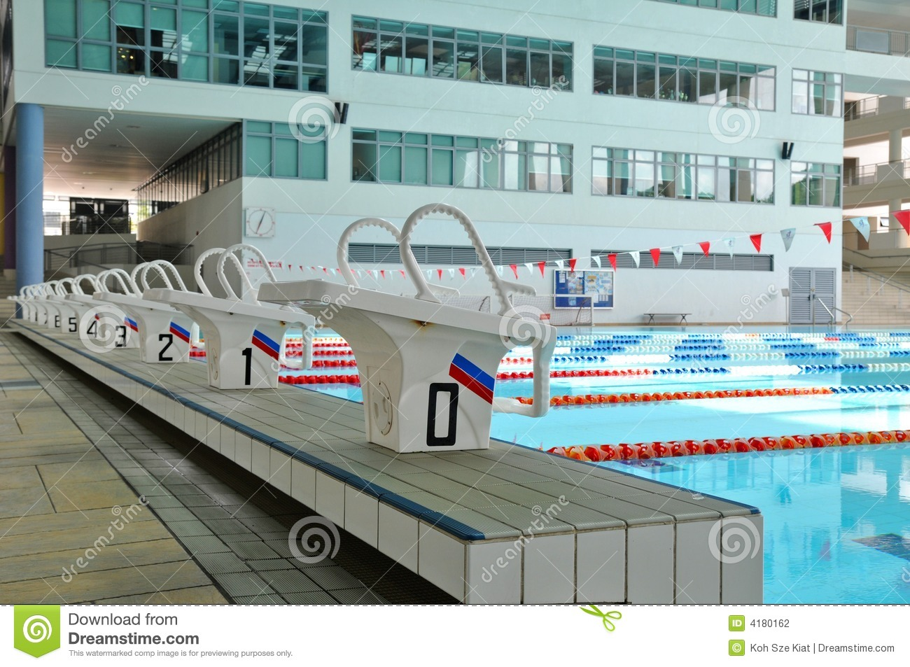 starting blocks and pool stock photography