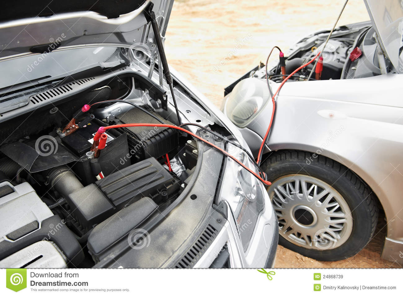 Built In Vehicle Jumper Cables : Starting car engine with battery jumper cables stock image