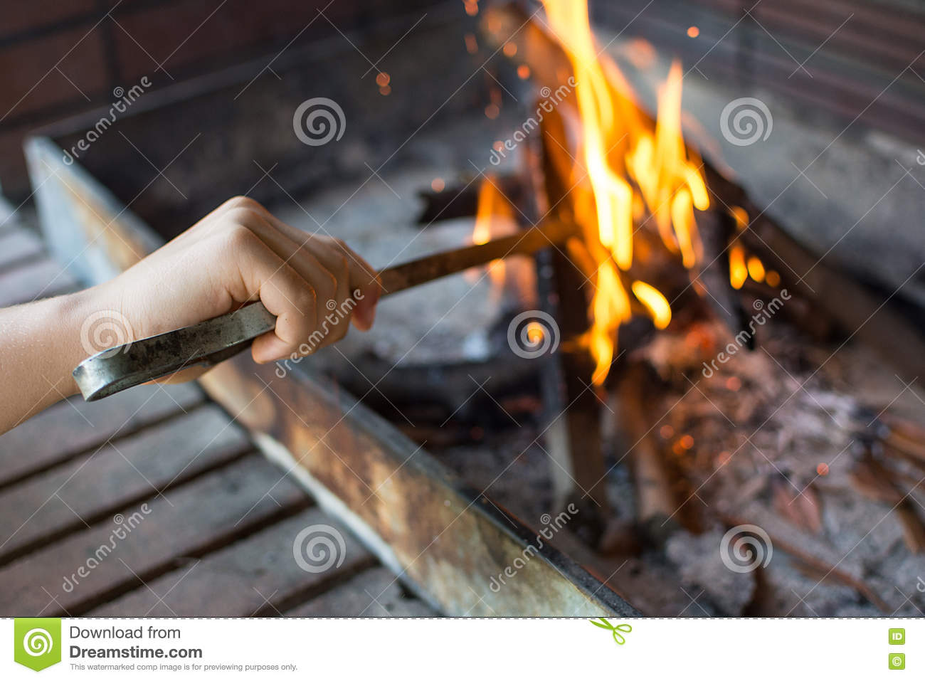 Starting Fire For Charcoal Grill Arm With Long Handled Tongs Se Stock Photo Image Of Flame Grilled 76312678