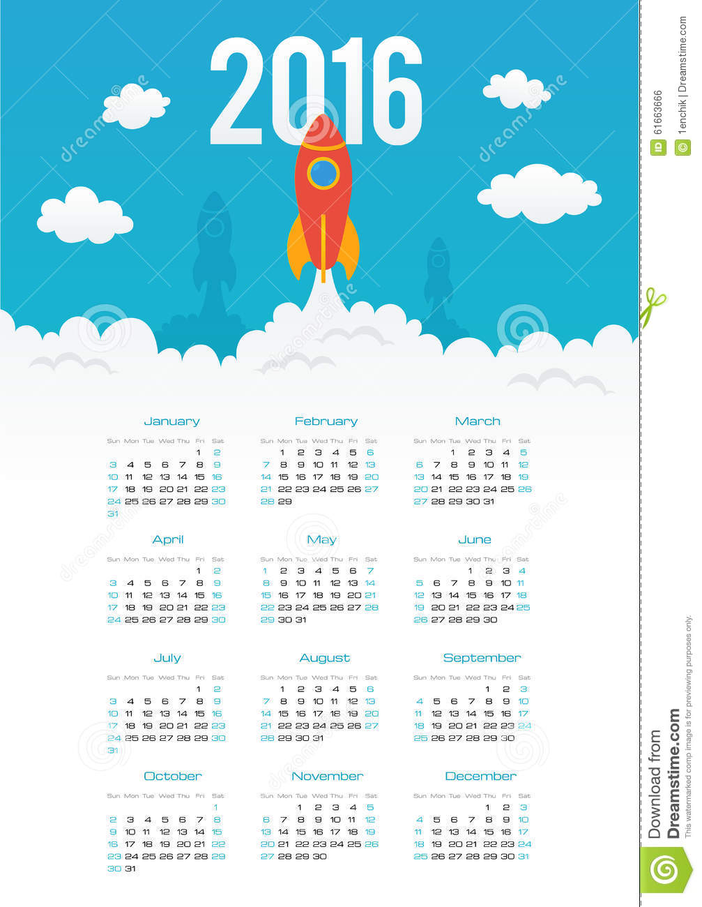 Year Calendar Starting : Starting rocket vector year calendar template stock