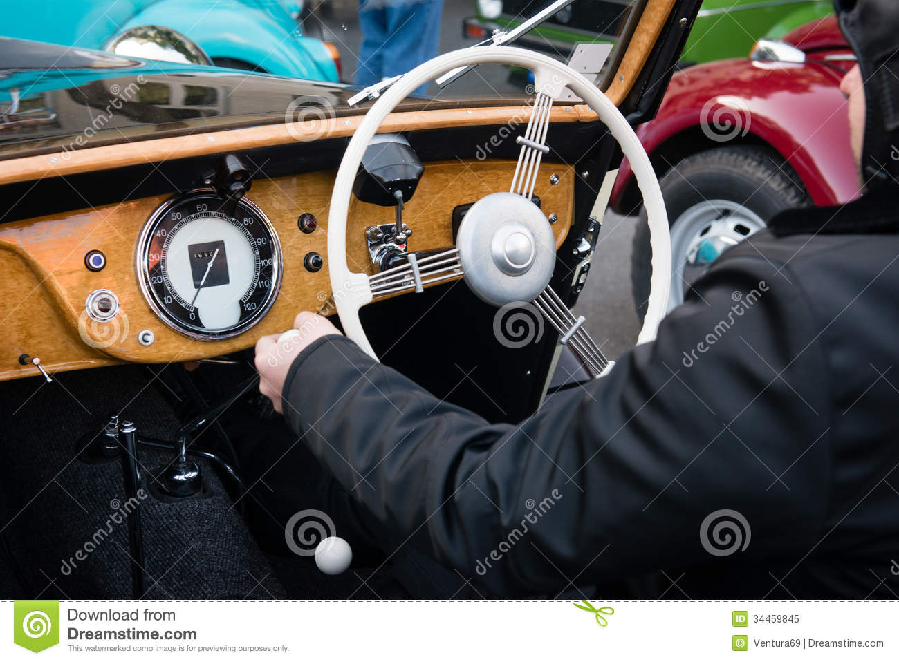 Starting the vintage car stock image. Image of mirror ...