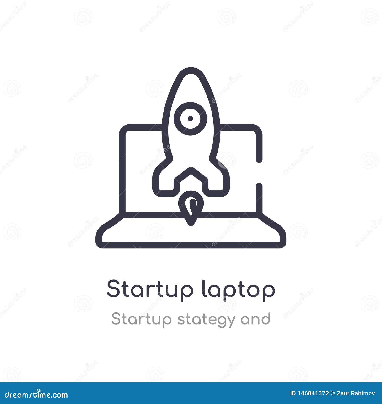 Startlaptop overzichtspictogram ge?soleerde lijn vectorillustratie van stategy opstarten en inzameling editable dun slagopstarten