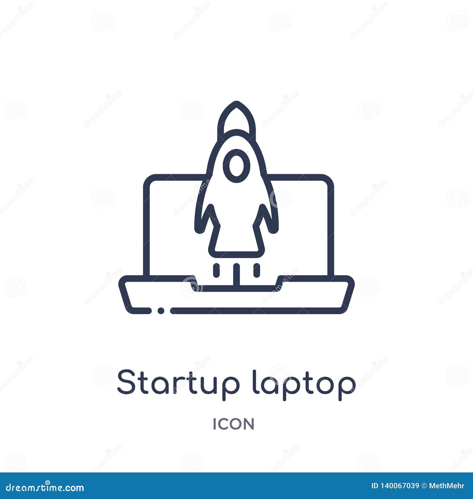 Startlaptop pictogram van stategy opstarten en de inzameling van het succesoverzicht Dun lijn startlaptop pictogram dat op wit wo