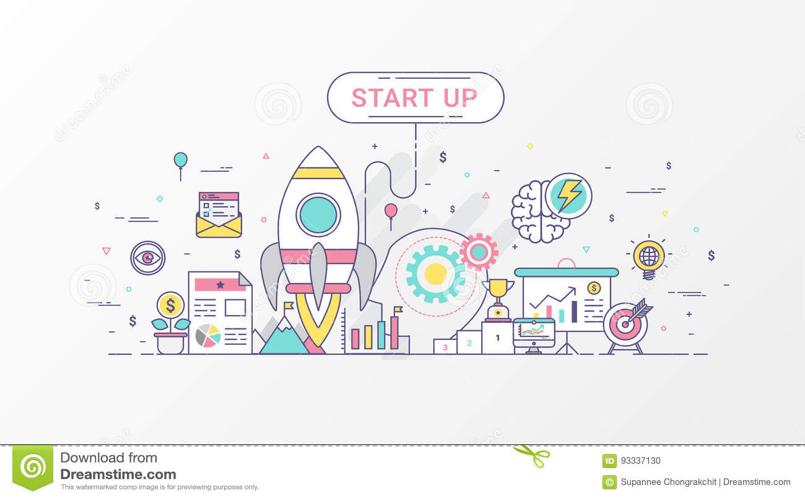Startup компания Быстро растущее дело infographic Горизонтальный шаблон состава содержит значки Ракеты, планированиe бизнеса