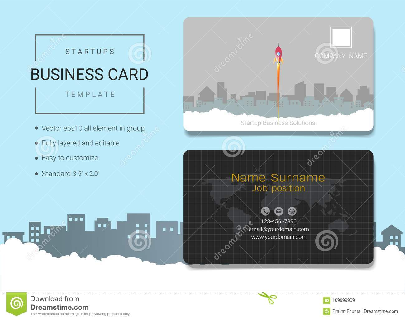 Startup business card or name card template stock vector download startup business card or name card template stock vector illustration of simple colourmoves